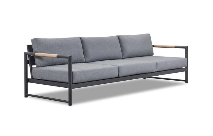 Breeze LX Three Seater Sofa by Harbour - Asteroid Powder Coated Aluminum + Sunbrella Cast Slate.