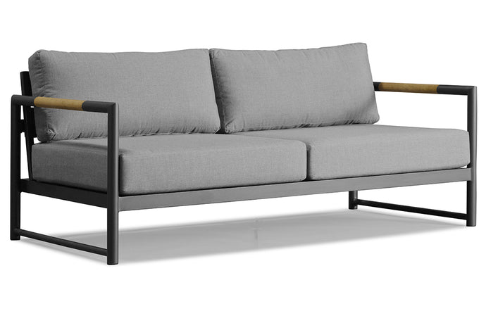 Breeze XL Two Seater Sofa by Harbour - Asteroid Powder Coated Aluminum + Sunbrella Cast Slate.