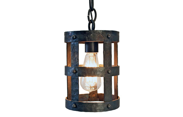 James De Wulf Cage Pendant by De Wulf - Wrought Iron and Brass.