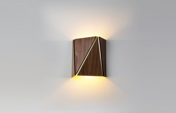 Calx LED Sconce by Cerno - Dark Stained Walnut.