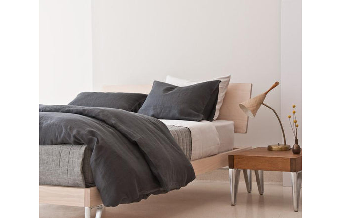 Camille Dark Grey Linen Pillowcase (pair) by Area.