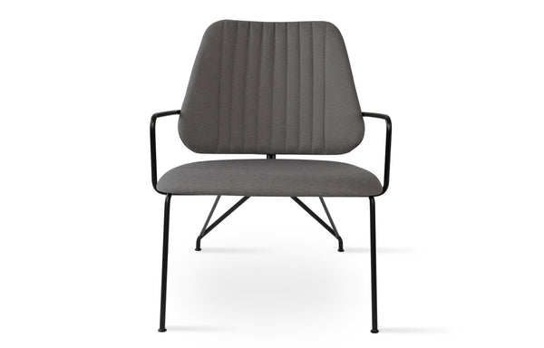 Langham Soft Seat Lounge Chair by SohoConcept - Camira Era Grey Fabric with Matt Black Frame
