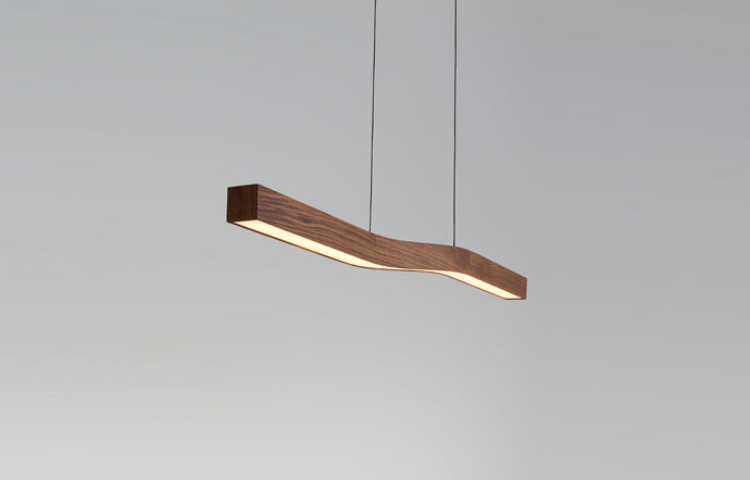 Camur LED Linear Pendant by Cerno - Walnut Wood.
