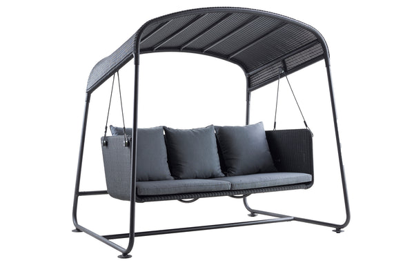 Cave Outdoor Swing Sofa by Cane-Line - Graphite Cushion/Aluminum.