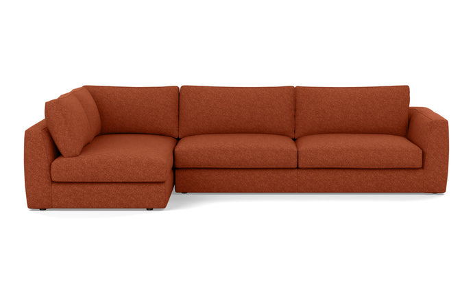 Cello 2-Piece Sectional Fabric Sofa with Full Arm Chaise by EQ3 - Full LHF Arm Chaise, Lana Rust Red Fabric.