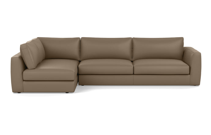 Cello 2-Piece Sectional Leather Sofa with Full Arm Chaise by EQ3 - Full LHF Arm Chaise, Sauve Chrome Leather.