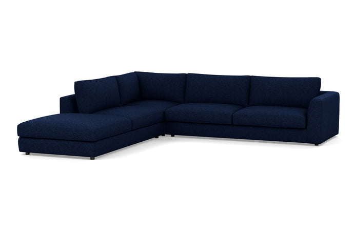 Cello 3-Piece Sectional Fabric Sofa with Backless Chaise by EQ3 - LHF Backless Chaise, Lana Dark Blue Fabric.