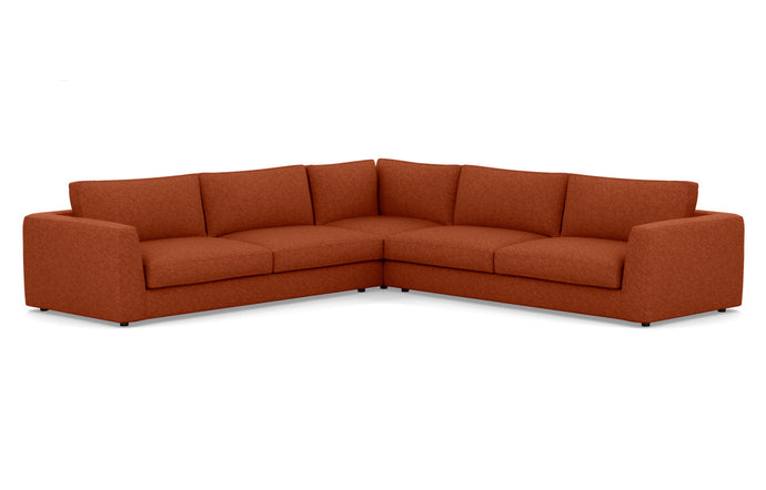 Cello 3-Piece Sectional Fabric Sofa with Corner Seat by EQ3 - Lana Rust Red Fabric.