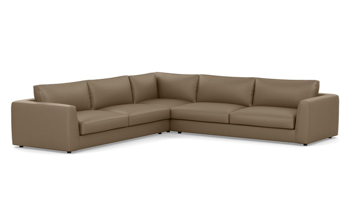 Cello 3-Piece Sectional Leather Sofa with Corner Seat by EQ3 - Sauve Chrome Leather.