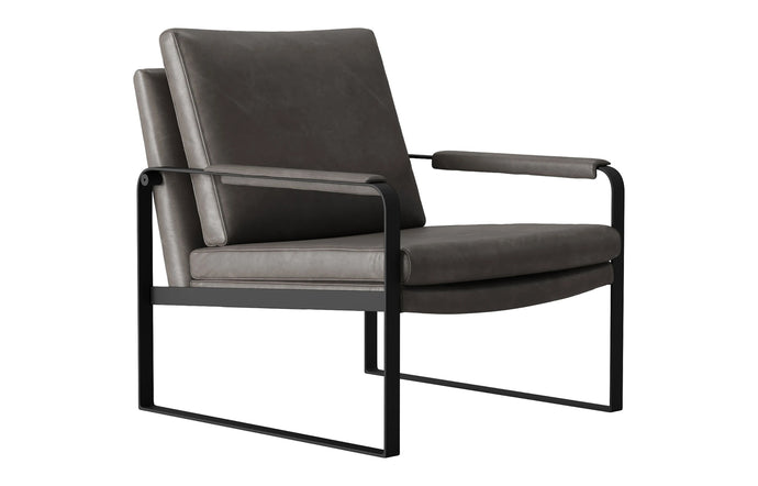 Charles Lounge Chair - Gunmetal Vintage Leather