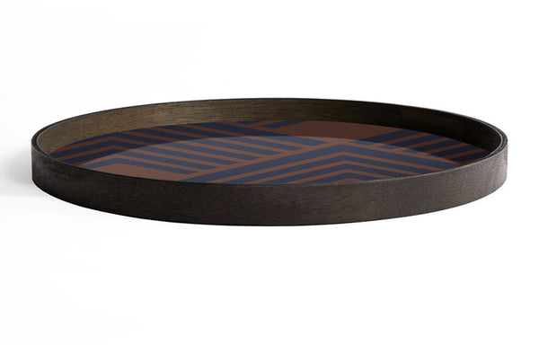 Chevron Glass Round Tray by Ethnicraft - Midnight Chevron