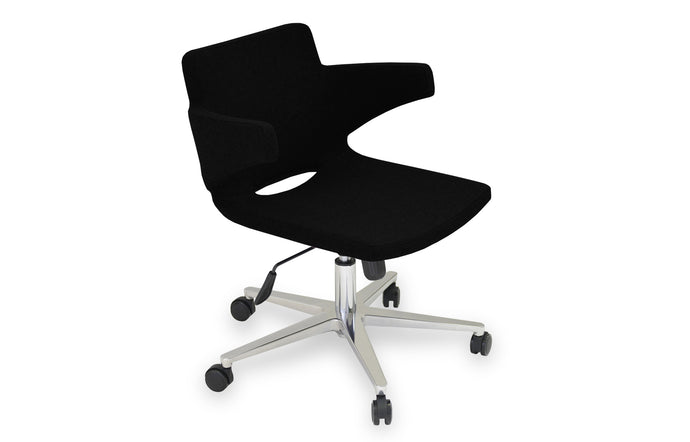 Nevada Office Arm Chair by SohoConcept - Chrome Plated Steel, Black Leatherette