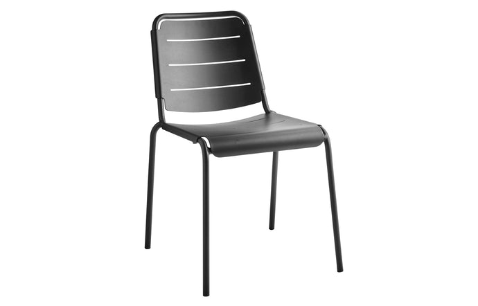 Copenhagen City Stackable Dining Chair by Cane-Line - Lava Grey Powder Coated Aluminum.