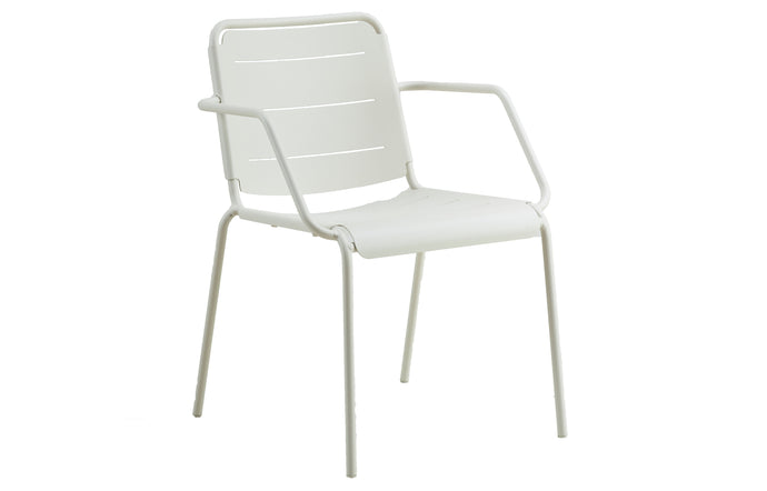 Copenhagen Stackable Dining Armchair by Cane-Line - White Powder Coated Aluminum.