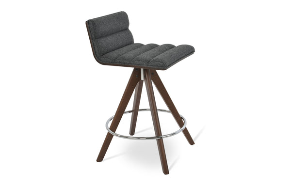 Corona Pyramid Swivel Stools by SohoConcept - Counter/Bar Stool, Beech Walnut Wood, Camira Blazer Dark Grey Wool.