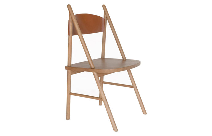 Cress Chair by Sun at Six - Umber Leather/Sienna Wood.