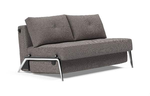 Cubed Sofa Bed with Aluminum Legs by Innovation - Full, 521 Mixed Dance Grey (stocked).