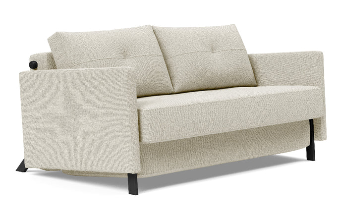 Cubed Sofa Bed with Arms by Innovation - Full, 527 Mixed Dance Natural (stocked).