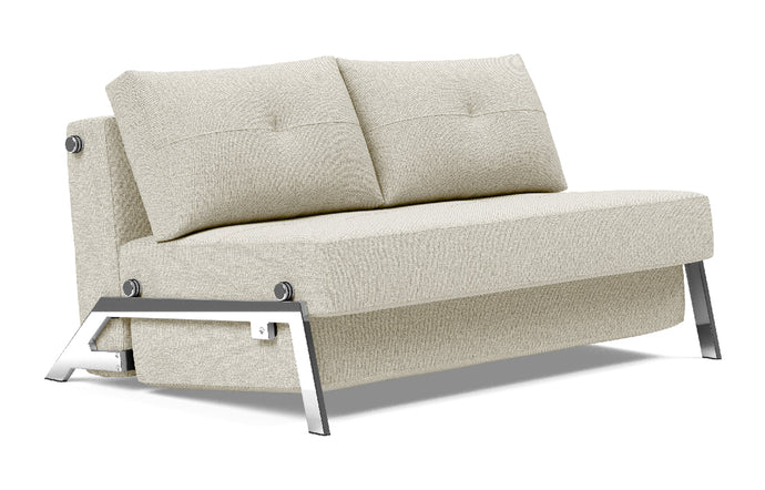 Cubed Sofa Bed with Chrome Legs by Innovation - Full, 527 Mixed Dance Natural (stocked).