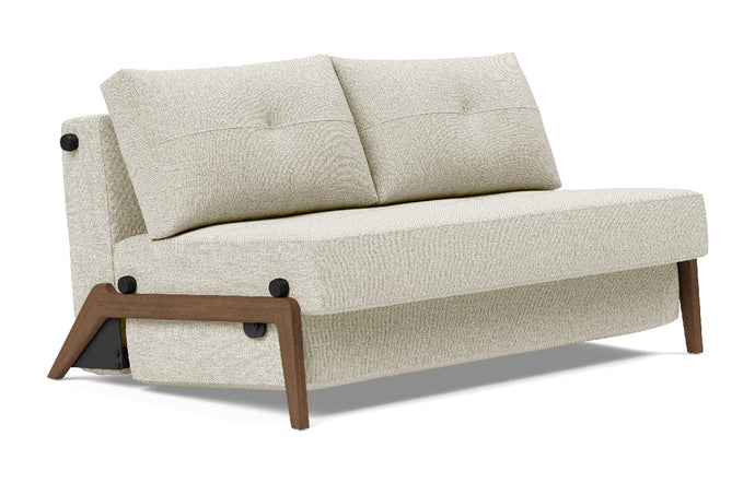Cubed Sofa Bed with Dark Wood Legs by Innovation - Full, 527 Mixed Dance Natural (stocked).