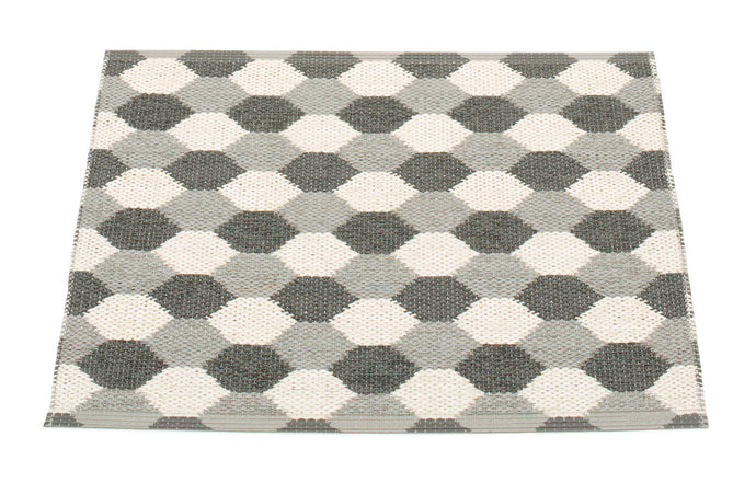 Dana Warm Grey & Charcoal & Vanilla Runner Rug by Pappelina.