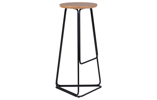 Delta Bar Stool by m.a.d. - Natural Wood/Black Powder Coated.
