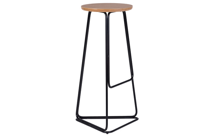 Delta Bar Stool by m.a.d. - Black Steel Base with Natural Ash Wood Seat.