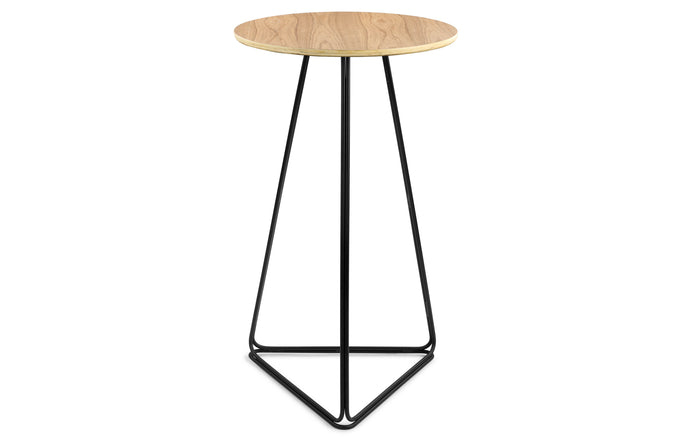 Delta Bar Table by m.a.d. - Black Steel Base with Walnut Wood Top.