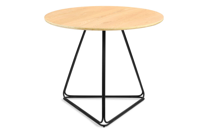 Delta Cafe/Dining Table by m.a.d. - Black Steel Base with Natural Ash Wood Top.