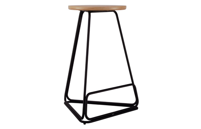 Delta Counter Stool by m.a.d. - Black Steel Base with Natural Ash Wood Seat.