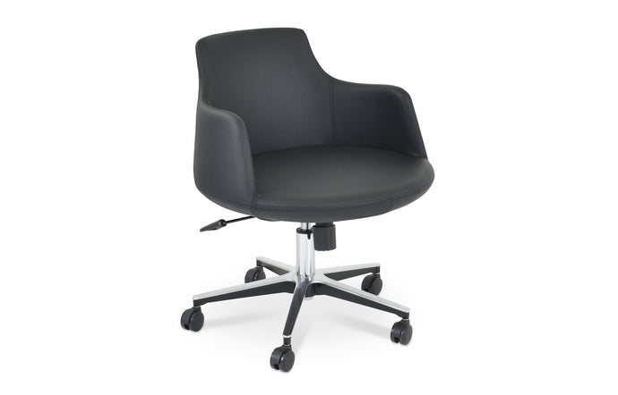 Dervish Arm Office Chair by SohoConcept - Chrome Plated Steel, Black Leatherette.
