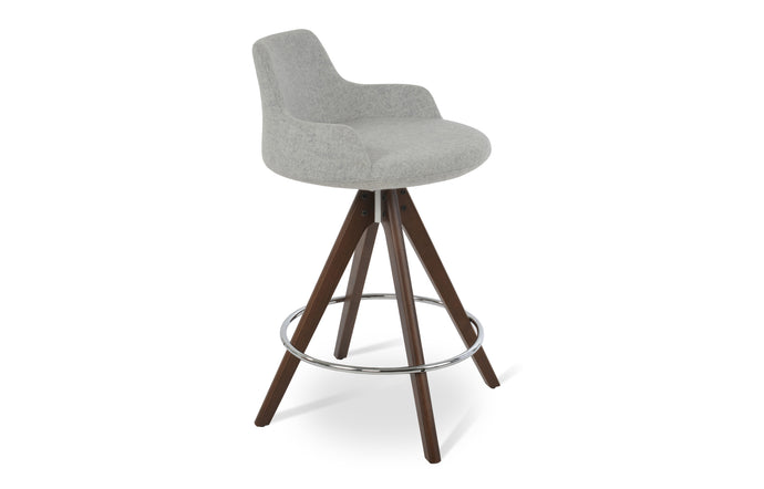 Dervish Pyramid Counter Stool by SohoConcept - Original Walnut, Camira Blazer Silver Wool