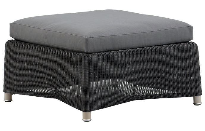 Diamond Outdoor Footstool by Cane-Line - Graphite Fiber Weave/Grey Cushion.