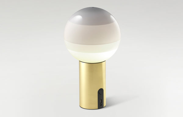 Dipping Dimmable Portable Lamp by Marset - White Shade+Brushed Brass Base.