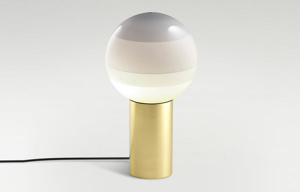 Dipping Table Lamp by Marset - White Shade+Brushed Brass Base.