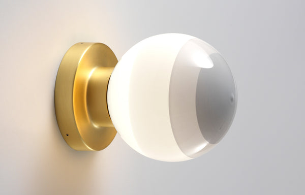 Dipping Wall Lamp by Marset - A2-13, White Shade+Brushed Brass Base.