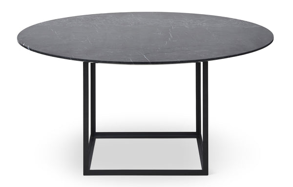 Jewel Marble Round Dining Table by DK3 - Black Cube Base, Black Marquina Marble