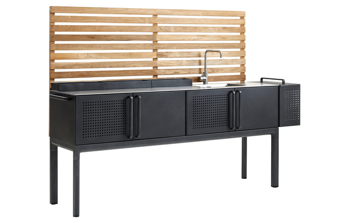 Drop Kitchen Module by Cane-Line - Main Module/Teak Wall, Silver Stainless Steel with Sink/Fixtures.
