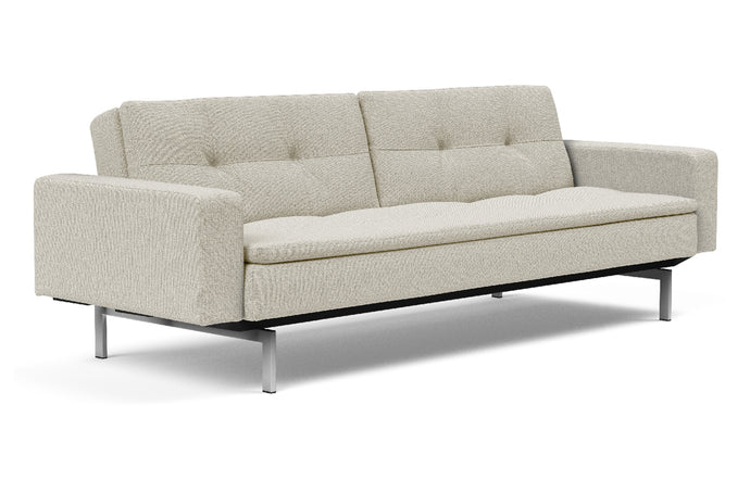 Dublexo Stainless Steel Sofa Bed with Arms by Innovation - 527 Mixed Dance Natural (stocked).