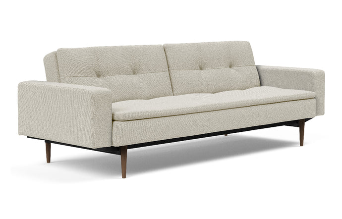 Dublexo Styletto Dark Wood Sofa Bed with Arms by Innovation - 527 Mixed Dance Natural (stocked).