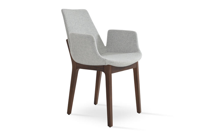 Eiffel Arm Wood Chair by SohoConcept - Original American Walnut Wood, Camira Blazer Silver Wool.