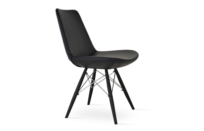 Eiffel MW Dining Chair by SohoConcept - Black Powder Steel, Black Genuine Leather.