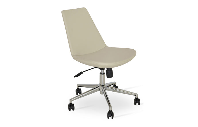 Eiffel Office Chair by SohoConcept - Chrome Plated Steel, Cream PPM.