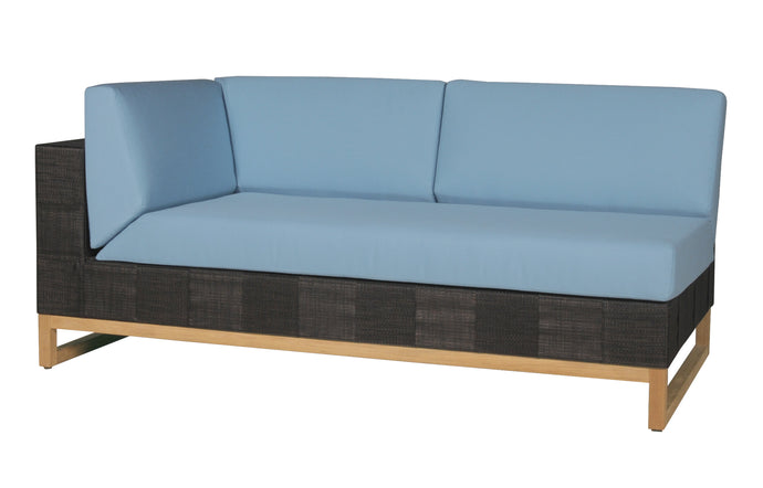 Ekka Right Hand Sectional by Mamagreen - Black Upholstery Batyline, Mineral Blue Sunbrella Cushion.
