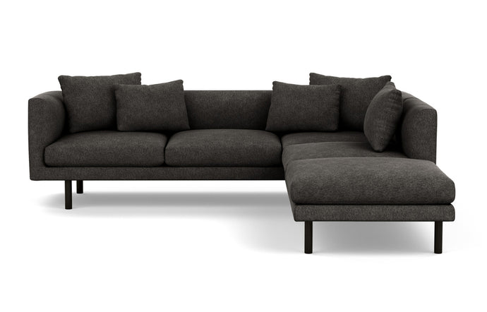 Replay 2-Piece Sectional Fabric Sofa with Right Hand Facing Backless Chaise by EQ3 - Black Ash Legs, Coda Ash Fabric.