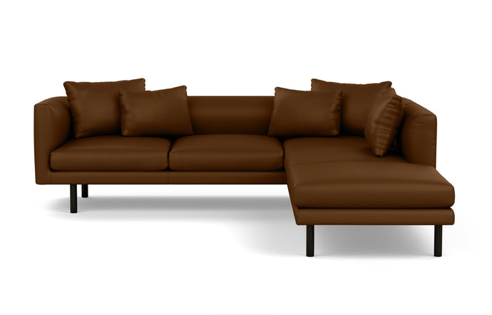 Replay 2-Piece Sectional Leather Sofa with Right Hand Facing Backless Chaise by EQ3 - Black Ash Legs, Sauve Amaretto Leather.