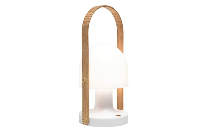 Followme Plus Table Lamp - White Matte/Oak Wood.