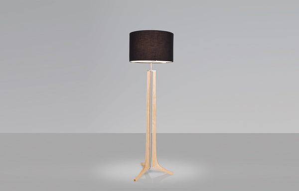 Forma Floor Lamp by Cerno - Brushed Aluminum, Maple Body, Black Shade.