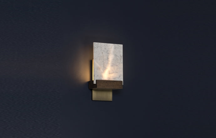 Fortis LED Wall Sconce by Cerno - Dark Stained Walnut Wood + Distressed Brass Metal Back Plate, Carrara Marble.