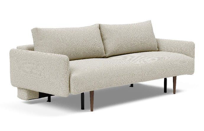 Frode Dark Styletto Sofa Bed Upholstered Arms by Innovation - 527 Mixed Dance Natural (stocked).